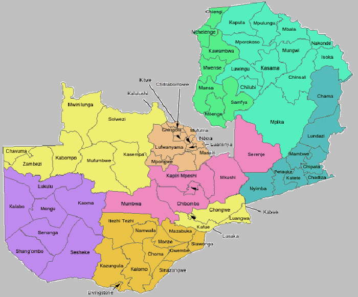 Zambia in Maps Part 1 - Major maps of Zambia, plus map of Africa ...